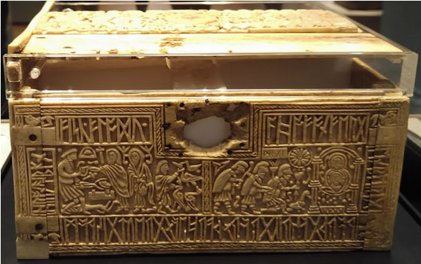 Sample of Anglo-Saxon Runes: the front of the Franks Casket
