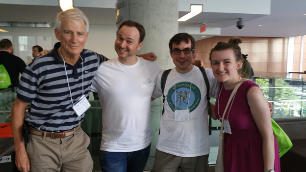 Me at the 2016 North American Polyglot Symposium in Montreal with Lindsay Dow, Benny Lewis and Steve Kaufmann