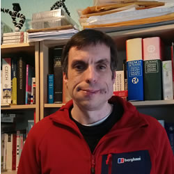 A photo of Simon Ager, author of Omniglot, taken on 9th April 2018