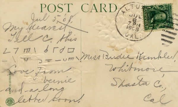 Postcard with unknown symbols on it